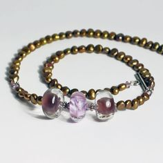 Gorgeous purple 3 bead necklace on pearl - one of a kind glass beads by Felice Designs - www.felicedesigns.com