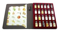 Beer Aroma Kit - 24 aromas by Aromaster for Beer Tasting and Education. List of beer aromas included in the kit: 1. lemon, 2. grapefruit, 3. apple, 4. pear, 5. blackcurrant, 6. prune, 7. melon, 8. banana, 9. acacia, 10. rose, 11. cut grass, 12. hay, 13. bay leaf, 14. thyme, 15. tomato, 16. pepper, 17. nutmeg, 18. clove, 19. bread, 20. butter, 21. vanilla, 22. hazelnut, 23. toast, 24. malt
