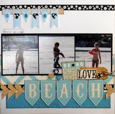 Beach layout -love the way beach is spelled out on the pennants. - Beach layout -love the way beach is spelled out on the pennants. Beach Scrapbook Layouts, Vacation Scrapbook, Scrapbook Layout Sketches, Scrapbooking Layouts, Scrapbook Cards, Digital Scrapbooking, Dog Scrapbook, School Scrapbook, Halloween Scrapbook
