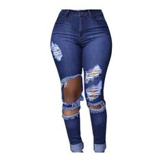 High Waisted Distressed Skinny Jeans in Blue (155 BRL) ❤ liked on ...