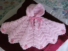 Preemie Ripple Poncho free crochet pattern on Danette's Angels at http://danettesangels.tripod.com/patterns/preemieponcho.html