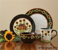 House & Sunflower Dishes