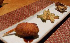 Robata sampler (crab, jaga-yimo, fried pork belly) of Aburiya Box lunch @Aburiya Kinnosuke (April 2012)