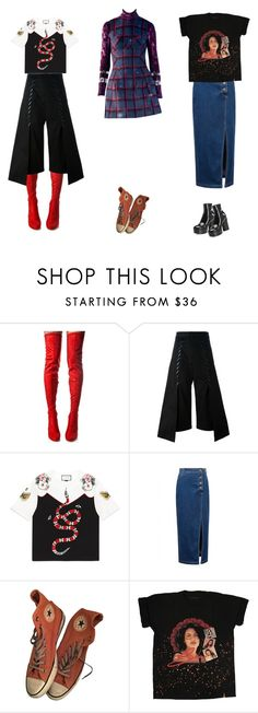 """""""if your love was strong as my shame, i'd marry you and take your name"""" by hbd2u ❤ liked on Polyvore featuring Cape Robbin, Noir Kei Ninomiya, Gucci, WithChic, Converse and Marc Jacobs"""