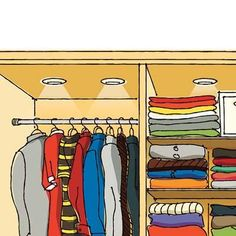 If your closet isn't wired for lighting, use battery-powered stick-up LED pucks, such as Sylvania's Dot-its along the top and under shelves so that you can find what you're looking for.  About $12 for three; lowes.com | Illustration: Arthur Mount | thisoldhouse.com