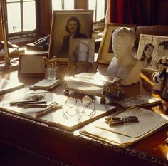 Winston Churchill's desk in the Study at Chartwell. It is covered with items including a bronze cast of Lady Randolphs hand, photo of Mary Soames & a biscuit Sevres bust of Napoleon by Chaudet. Clementine Churchill, Winston Churchill, Churchill Quotes, British Home, National Trust, British History, Britain, Study, Manor Houses