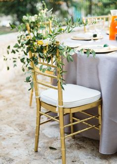 A touch of greenery is the perfect chair treatment for an outdoor wedding! // ML Photo & Film. #bridesofnorthtx #wedding #chairtreatment