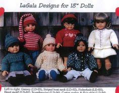3 knitting Patterns für 18 Zoll Puppe / American von lagaladesigns
