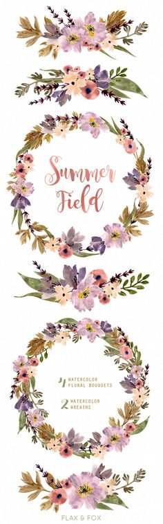 Summer Field Watercolor Bouquets Wreath hand painted by flaxandfox