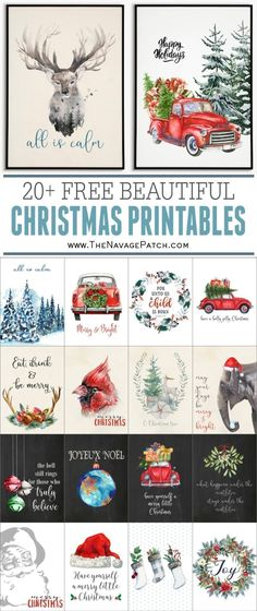Beautiful FREE Watercolor Christmas Printables - The Navage Patch