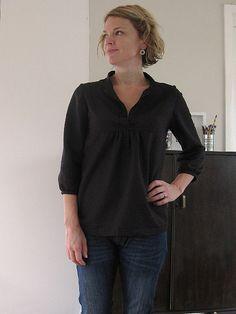 tova top - black linen or gauze, silk.