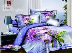 Shining Purple Flowers Blue 4-Piece Cotton Duvet Cover Sets on sale, Buy Retail Price Floral Bedding Sets at Beddinginn.com