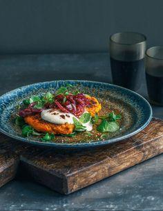 kumara, carrot & chickpea fritters with caramelised onion & garlic yoghurt