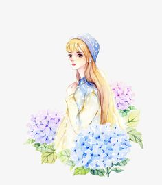 Long-haired girl,Flowers,plant,Small fresh material,illustration