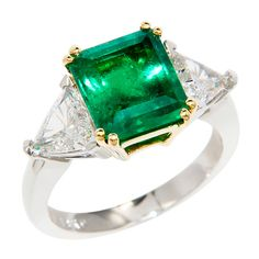 Exquisite Diamond Ring Settings | Exquisite Emerald Diamond Ring at 1stdibs