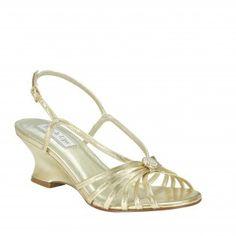 ANASTASIA-297 Women Rhinestones Wedge Sandal - Gold