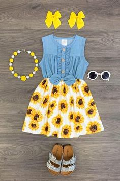 US Girls Dress Outfit Toddler Baby Kids Clothing Sunflower Denim Dress Baby Outfits, Little Girl Outfits, Cute Outfits For Kids, Toddler Girl Outfits, Little Girl Fashion, Baby Girl Dresses, Toddler Fashion, Kids Fashion, Fashion Hats