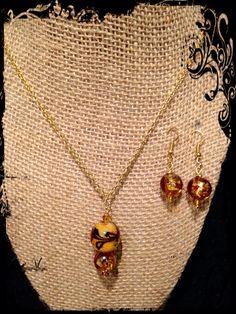 Handmade pendant with earrings