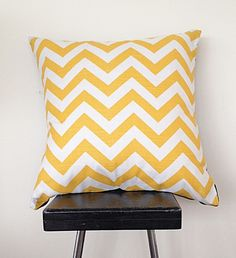 Bright sunny chevron cushion cover is made using screen printed decorating weight cotton.