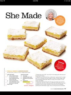 Paula Deen's lemon bars. Made these with Key lime juice. Mmmmmm. They were really good but I think they'd be better with lemon juice, as intended. ;-)