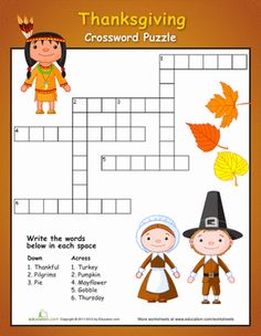 Thanksgiving First Grade Holidays Spelling Worksheets: Easy Thanksgiving Crossword Puzzle