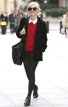 red polka dot sweater over white shirt + black coat, mini skirt, tights and handbag