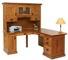Amish Homestead Corner L Desk with Optional Hutch Top There's room for it all at the Homestead Corner L Desk. Custom furniture handcrafted in Amish country. Built in choice of wood and finish.