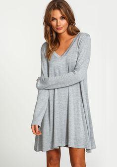 robe décontractée col V à manches longues -gris  16.11