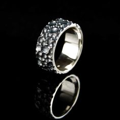 Big Mama Men Wide Sterling Silver Textured Ring Unisex by nodeform, $195.00