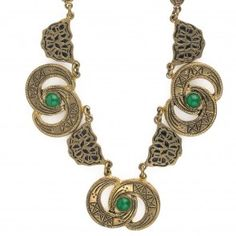 Art Deco stamped, gilded and enameled brass link necklace with green glass stones. nlad961(e)