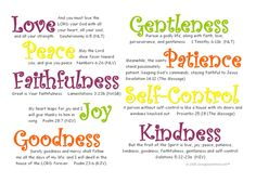 Fruit of the Spirit. ~ Note to self~ READ OFTEN the poem and scripture that follows.