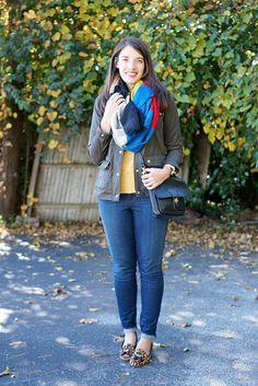 cargo jacket, mustard sweater, jeans, leopard, scarf | style on target