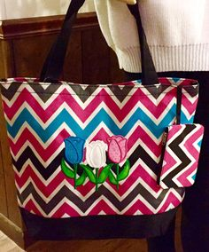 Items similar to O7 My Bloomin  Chevron Tote with Zippered Pouch 3d5561825ce2d