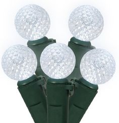 Set of 50 Polar White LED G12 Berry Fashion Glow Christmas Lights - Green Wire by Vickerman. Save 40 Off!. $14.99. Set of 50 LED Fashion Glow Christmas Lights Item #X4G0505Features:Color: polar white bulbs / green wire Number of bulbs on string: 50 Bulb size: G12 (15mm diameter, berry lights)Spacing between each bulb: 4 inches Lighted string length (approx): 16.25 feet Total string length (approx): 16.5 feetAdditional Product Features:LED lights use 90% less energy Lights are equippe...