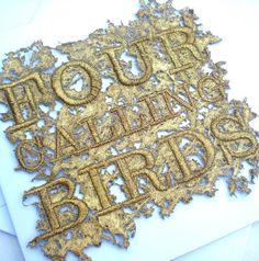 Christmas Card: Four Calling Birds - Folksy