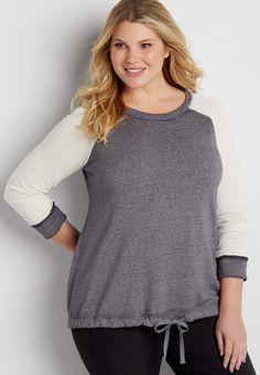 c2e7bce3300 plus size burnwash pullover sweatshirt with drawstring hem