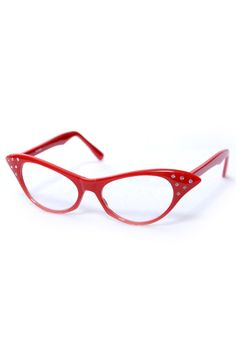 d1a75acdbcb Retro Inspired Red Cat-Eye Glasses With Clear Lenses - Unique Vintage -  Pinup