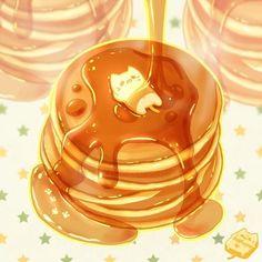 A morning breakfast chill with some pancakes~ Neko kawaii cute sweet Cute Food Drawings, Cute Kawaii Drawings, Chibi Kawaii, Kawaii Art, Anime Chibi, Haikyuu Anime, Kawaii Anime, Manga Anime, Cute Food Art