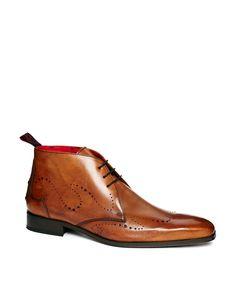 Jeffery West Punch Wingtip Chukka Boots in Tan