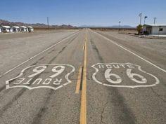Route 66 in the Mojave Desert in California.