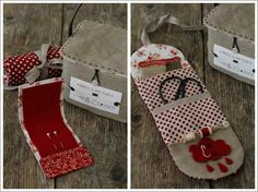 Sweet home : Käsitöötarvikute hoidikud Sewing Case, Sewing Kit, Fabric Storage Baskets, Sew Wallet, Cross Stitch Supplies, Needle Book, Creation Couture, Pin Cushions, Christmas Stockings