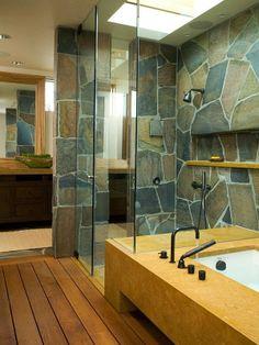 natural stone walls (via onekindesign.com)