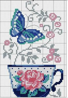 Free floral teacup and butterfly cross stitch pattern #stitching