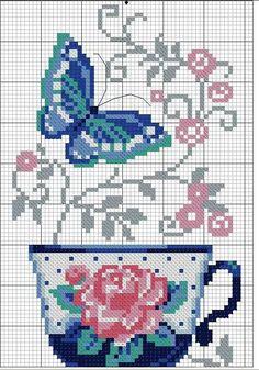 Xícara, flor, arabesco, borboleta, ponto cruz                                                                                                                                                      Mais