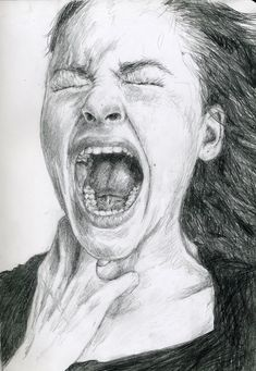 Screaming woman sketch - New Pin Sad Drawings, Pencil Art Drawings, Portrait Sketches, Art Drawings Sketches, Screaming Drawing, Scream Art, Illusion Kunst, Beautiful Dark Art, Woman Sketch