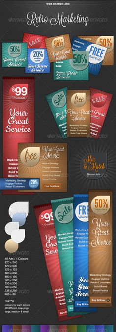 Buy Web Banner Ads - Retro Marketing by SpiralPixelDesign on GraphicRiver. A collection of forty retro advertising web banners in blue, brown, red and green. All banners are in psd format and . Retro Advertising, Ads, Web Banner Design, Web Banners, 404 Pages, One Page Website, Postcard Design, Information Graphics, Subtle Textures