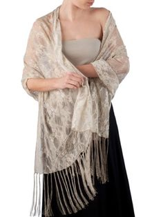 Elizabetta Italian Venetian Lace Evening Formal Scarf Shawl Wrap, Nude Beige -- Continue to the product at the image link. Evening Shawls And Wraps, Lace Scarf, Floral Lace, Casual Outfits, Beige, Venetian, Clothes, Scarves, Nude