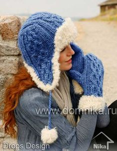 "984da753a4c Rocky Mountain   DROPS - Set consists of  Knitted DROPS hat and mittens in "" Eskimo"" or ""Andes"" with fur edge in ""Puddel"". - Free pattern by DROPS Design"