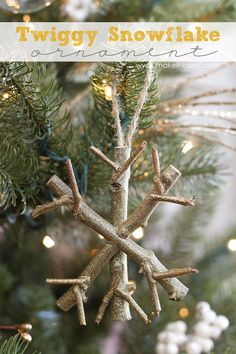Bring a bit of nature indoor with this Twiggy Snowflake Ornament by @makeitandloveit. #DIY #Christmas