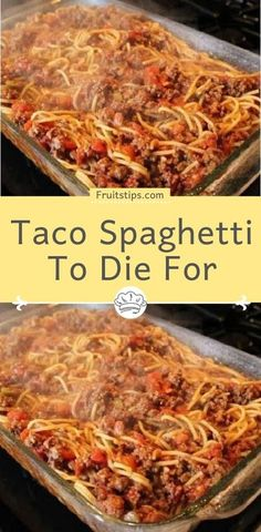 Taco Spaghetti To Die For - Daily Recipes - Favorite Recipes - Pasta Casserole Dishes, Casserole Recipes, Meat Recipes, Pasta Recipes, Mexican Food Recipes, Dinner Recipes, Cooking Recipes, Soul Food Recipes, Mexican Desserts